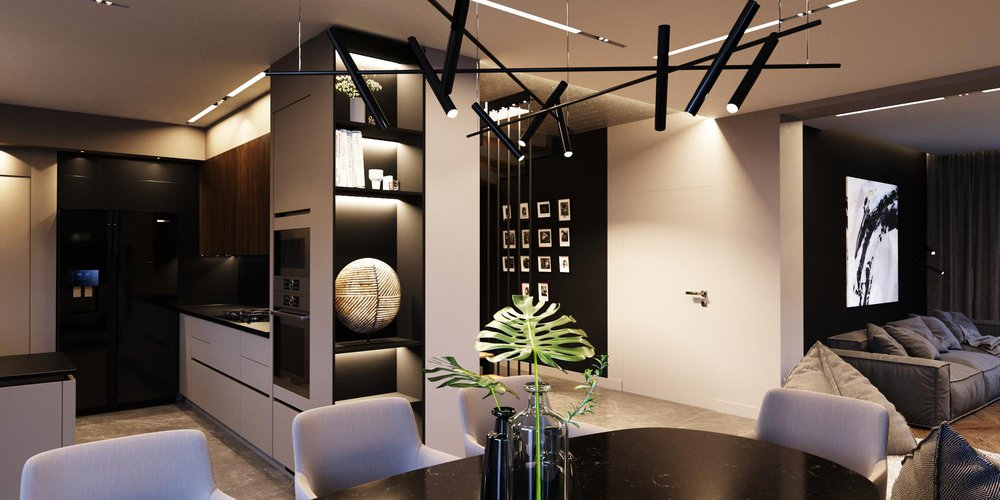 Loft in dark tones